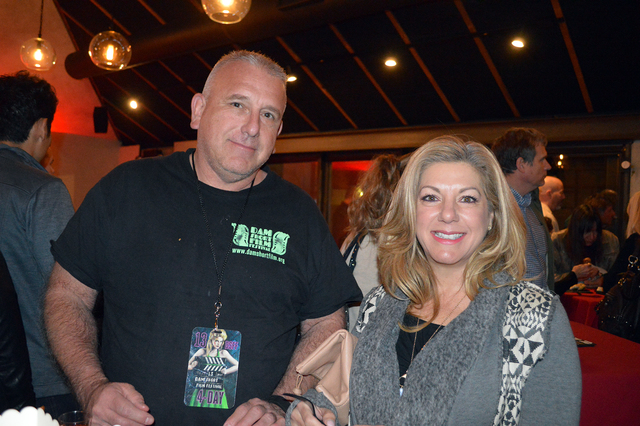 Celia Shortt Goodyear/Boulder City Review Don Mojado of Boulder City and Nancy Christ of Henderson enjoy some food at the Dam Short Film Festival Awards Party at the Forge Social House on Saturday ...