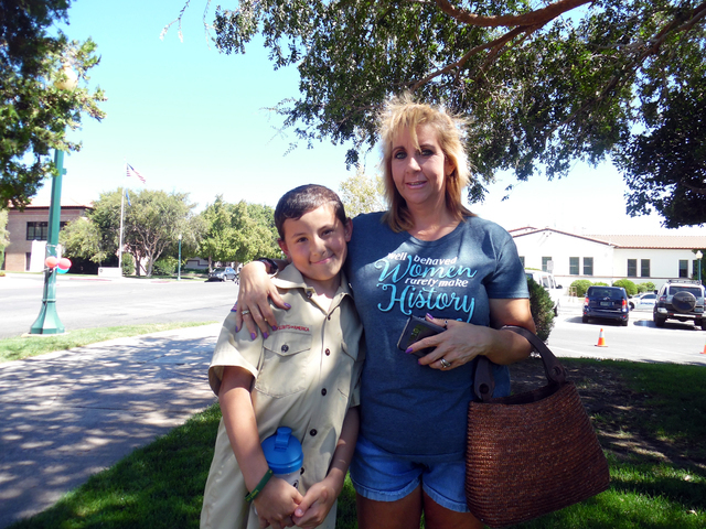 Hunter Terry/Boulder City Review Ethan Short and his mother, Suzi Rivera, moved to Boulder City a year ago from Henderson. Ethan, the son of a volunteer firefighter, said it was important to atten ...