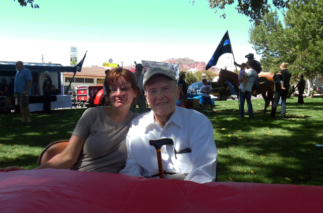 """Hunter Terry/Boulder City Review Sherri May and her """"adopted father"""" Ed Waymire agreed that, with all they do to keep us safe, it was important to attend the Hero and First Responder Appreciation  ..."""