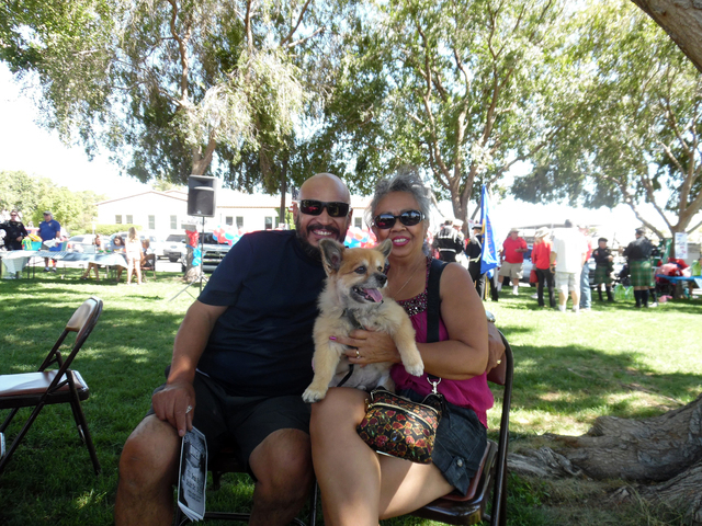 Hunter Terry/Boulder City Review James Majari and his wife, Katie Majari, were visiting from California on the way to visit Hoover Dam with their dog Buddy on Saturday when they saw banners for th ...