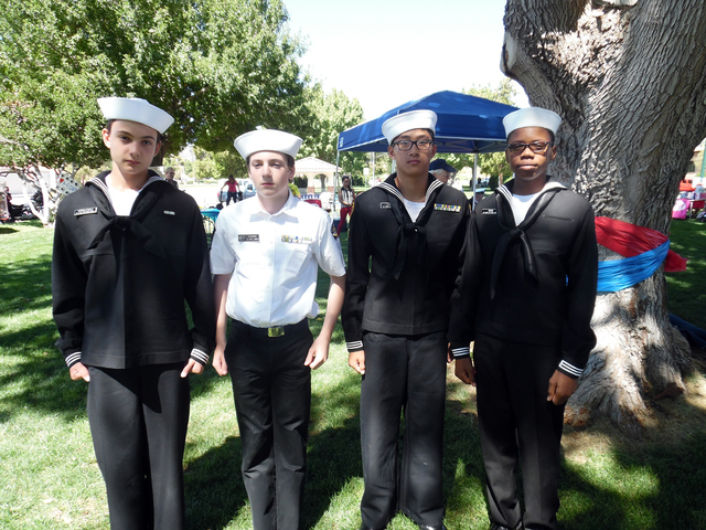 Hunter Terry/Boulder City Review Andrie Iorgulescu, from left, Eddy Kadian, Simon Lin and Keysean Winn are members of the Sea Cadets, a pre-Navy youth organization, and they attended the Hero and  ...