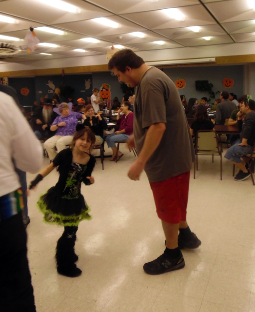 Larelei Bishop, 8, and Cambron Tate showed off their moves during the dance contest Friday at the Senior Center of Boulder City's Family Fun Night. Hunter Terry/Boulder City Review