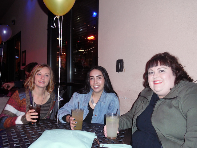 Hunter Terry/Boulder City Review Jessica Hall, from left, of Boulder City, Alexx Martinez of Henderson and Nicole Barber of Boulder City enjoyed a few drinks at the Boulder City Brewing Co.'s bash ...