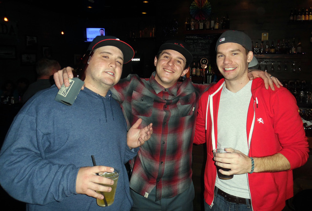 Hunter Terry/Boulder City Review Kirk Logugullo, from left, Mark Czarniak and John Topchi, all of Boulder City, had a few beers and prepared to ring in the new year Saturday at The Dillinger Food  ...