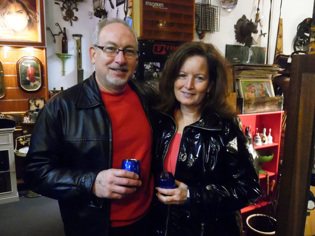 Hunter Terry/Boulder City Review Boulder City residents Stewart Podel and Robin Bennett enjoyed the wine walk on Saturday including a stop at Sherman's House of Antiques.