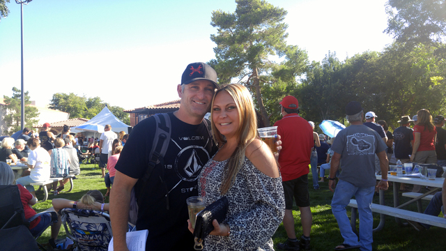 Hunter Terry/Boulder City Review Derek Banta and Jessica Kahn were among the hundreds of Boulder City and Southern Nevada residents that converged on Wilbur Square and Bicentennial parks on Saturd ...