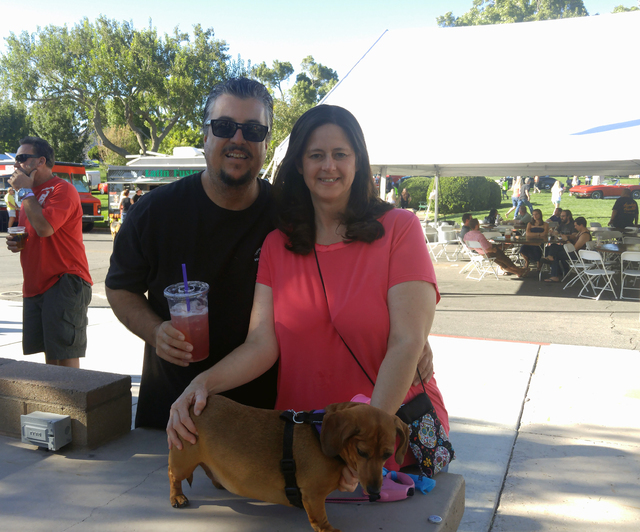 Hunter Terry/Boulder City Review Michael Cote and Tami Moore brought their dog Gracie to the Wurstfest on Saturday, as it has been an event that they love every year. They agreed that this time th ...