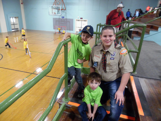 Hunter Terry/Boulder City Review Landyn Rowe, 5, left, and Mason Rowe, 4, who will play for the Leprechauns, attended the opening ceremony for their first season of youth floor hockey with Gage Da ...