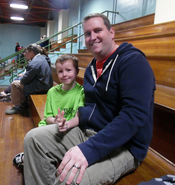 Hunter Terry/Boulder City Review Emerson, left, and Brady Prestwich attended the opening ceremony for Emerson's third year of youth floor hockey at the Parks and Recreation Center.
