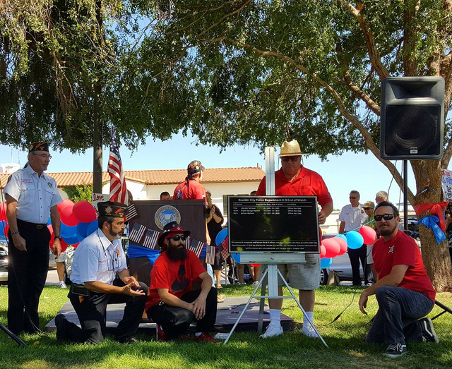 Courtesy photo Veterans of Foreign Wars, Matthew A. Commons Memorial Post 36, and the Ancient and Honorable order of E. Clampus Vitus, Chapter 1919, dedicated a plaque to Boulder City Police offic ...