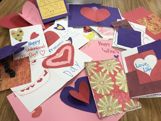 Courtesy photo Fifth-grade students at King Elementary School made Valentine's Day cards that were delivered Tuesday to local senior citizens through the Meals on Wheels program.