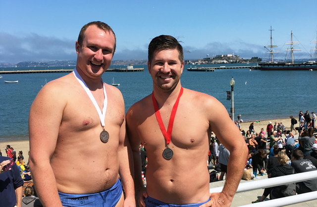 Former Boulder City competitive swimmers Justin Armour, left, and Aaron Bleck finished third and second respectively in the 30-35 age bracket at the Alcatraz Shark Fest race across the San Fancisc ...