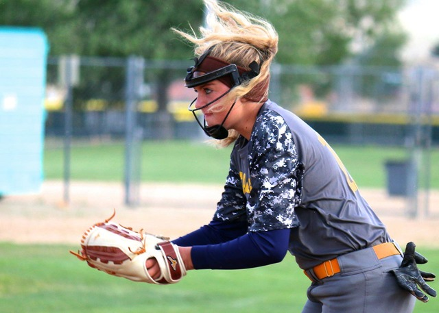 File photo Boulder City High's Bailey Bennett-Jordan, seen during the Lady Eagles' state championship game in Reno in May 2016, is expected to be a key player for the team this season as a pitcher ...