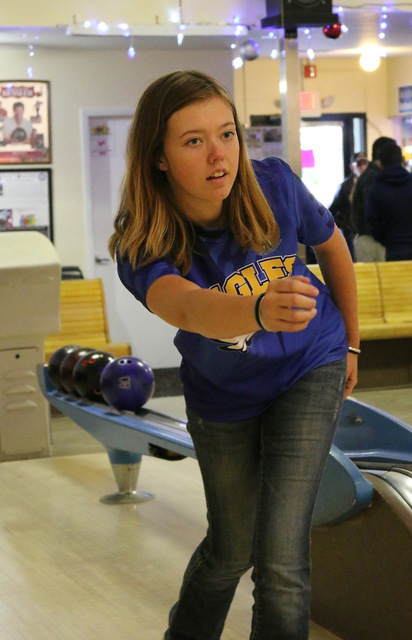 Laura Hubel/Boulder City Review Boulder City High School senior Alexis Cable bowled a 447, to top all scorers' in the Lady Eagles' definitive win against Somerset Academy SkyPointe Campus on Monda ...