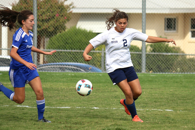 Laura Hubel/Boulder City Review Boulder City High School senior Alexis Pohe, was credited with an assist, during the Lady Eagles' 3-1 victory over the Moapa Valley Pirates on Sept. 28. Pohe was th ...