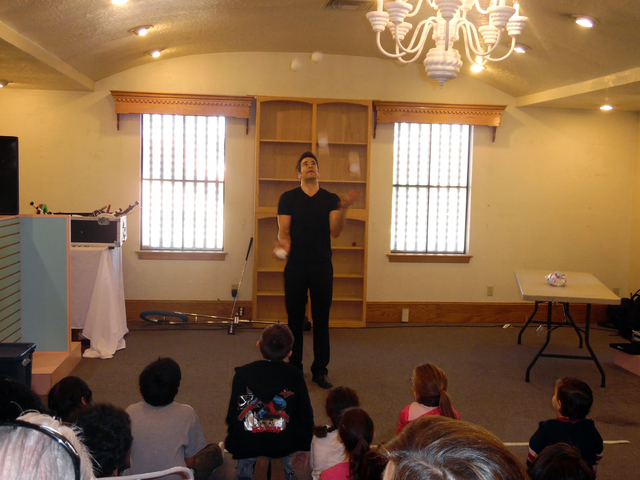 Hunter Terry/Boulder City Review Strip performer Jeff Civillico performed for the kids at the St. Jude's Ranch for Children on Saturday kicking off a new monthly program.