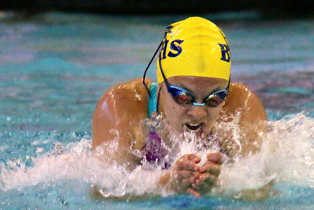 File photo Boulder City High's Montana Lloyd, who won the 200 individual medley in 2:04.84 and the 100 backstroke in 56.03 to capture first place in the Sunrise League regional in May, recently co ...