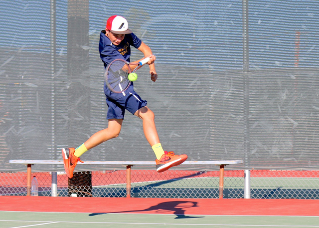 Laura Hubel/Boulder City Review Boulder City High School junior starter Garrett Leavitt, who plays doubles with Clayton Pendleton, is undefeated.