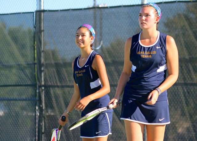 Laura Hubel/Boulder City Review Boulder City High School seniors Kyra Yamamoto, left, and McKenna Frazier, shown here in their Sept. 26 match against Chaparral, won a first-round bye as the No. 3  ...