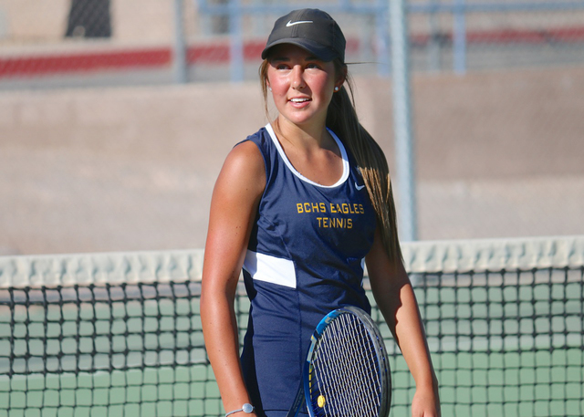 Laura Hubel/Boulder City Review Rising tennis star, Boulder City High School freshman Tegan Pappas, was named the player of the year for the 3A Sunrise division after finishing the season with a 2 ...