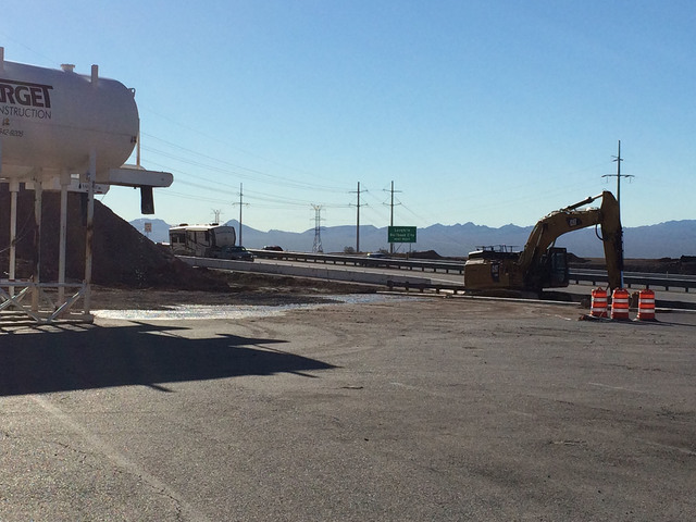 Hali Bernstein Saylor/Boulder City Review Work has begun on a new $10 million travel center at the Railroad Pass. The area adjacent to the existing U.S. Highway 93, as seen Wednesday, is being exc ...