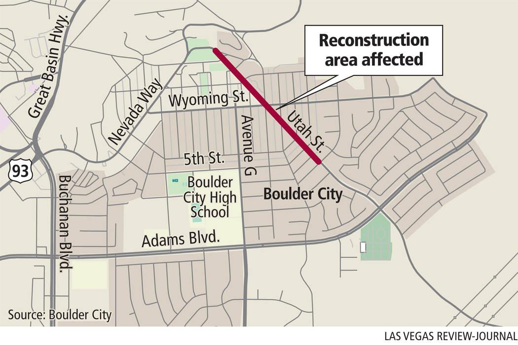 Utah Street reconstruction area (Gabriel Utasi/Las Vegas Review-Journal)
