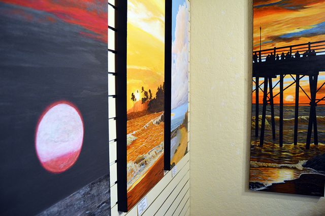 "Max Lancaster/Boulder City Review  Paintings from Jeff Oldham's ""Vertical Horizons"" exhibit are on display in the Boulder City Art Guild's gallery inside the Boulder Dam Hotel, 1305 Arizona  ..."
