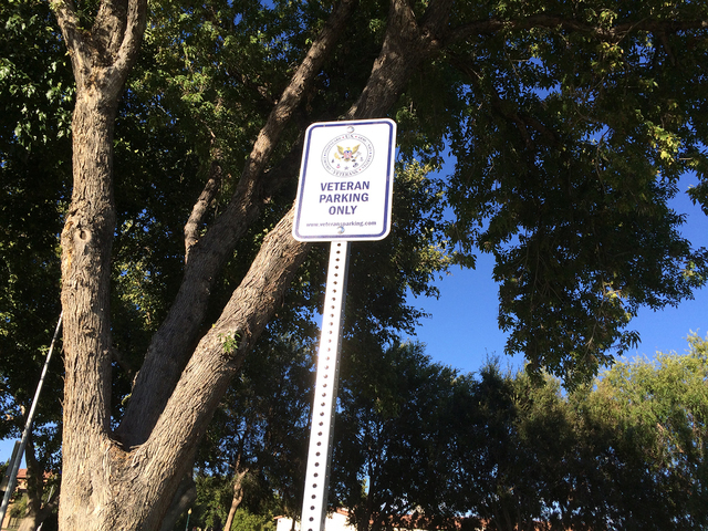 Hali Bernstein Saylor/Boulder City Review As another way to honor those who served our country, Boulder City has partnered with Go Veterans to designate special parking places for veterans.