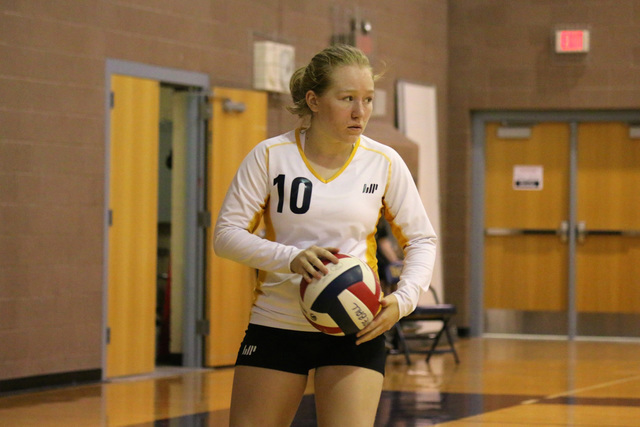 Boulder City High School senior Alea Lehr was among those who participated in the team's summer volleyball camp, learning new skills from coaches that came to Boulder City from California State Un ...