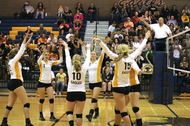 On senior night Oct. 26, the Lady Eagles dominated visiting Chaparral, 25-14, 25-14, 25-19 to finish the season in second place in the 3A Sunrise League.  Laura Hubel/Boulder City Review