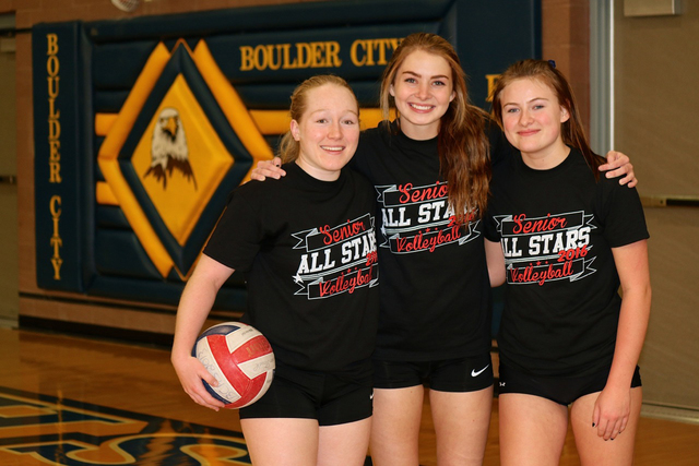 Laura Hubel/Boulder City Review Boulder City High School seniors, Alea Lehr, from left, Kenadee Bailey and Lexi Bringle played in the Sunrise League All-Star game Friday at Boulder City High Schoo ...