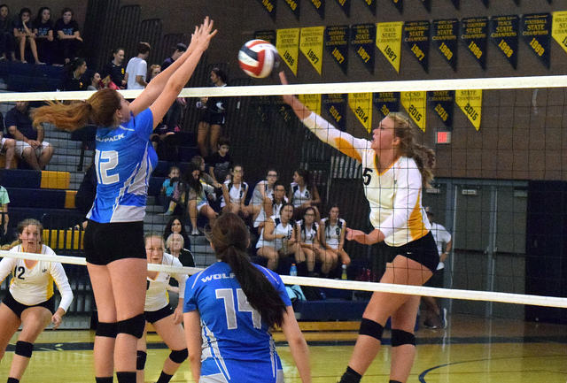 Robert Vendettoli/Boulder City Review Boulder City High School junior Maggie Roe, right, played well offensively and defensively against Basic on Sept. 1, helping the Lady Eagles earn a 3-1 victory.