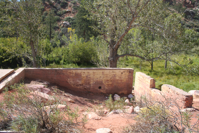 Photo courtesy Deborah Wall Just off the Pine Creek Canyon trail you can see a foundation of the two-story homestead house built by Horace and Glenda Wilson in 1920.