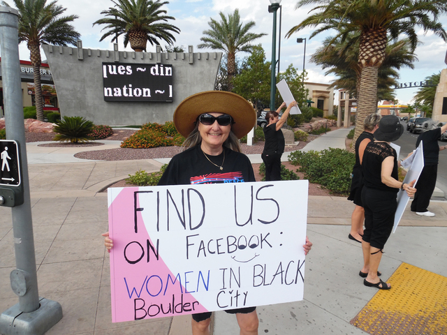 Francyl Gawryn participated in the Women in Black protest against violence Friday, Aug. 26, 2016 in downtown Boulder City. Hunter Terry/Boulder City Review