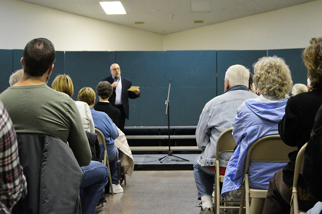 Max Lancaster/Boulder City Review   Residents listen to consultant Craig Galati, who was hired by the city to organize the residential land management workshop on Jan. 25. Galati was noticeably fr ...