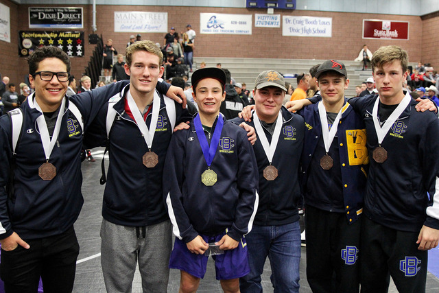 Photo courtesy Richard Viera Celebrating their wins at the Dixie Desert Storm tournament in Utah on Saturday were, from left, Bryan Foster, 170 pounds, third place; Dillon Viera, 160 pounds, fifth ...