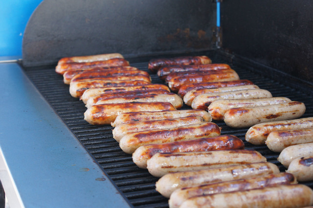 File photo Bratwurst are cooked on the grill during a past Wurstfest presented by Boulder City Sunrise Rotary.