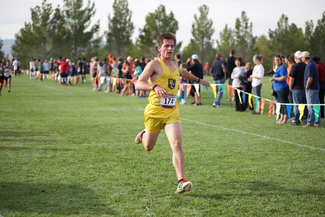 Noel Kanaley/Boulder City Review Braden Klouse, a senior at Boulder City High School, helped boost the Eagles' overall score with a 54th-place finish and time of 21:26.9 during the Lake Mead Invit ...