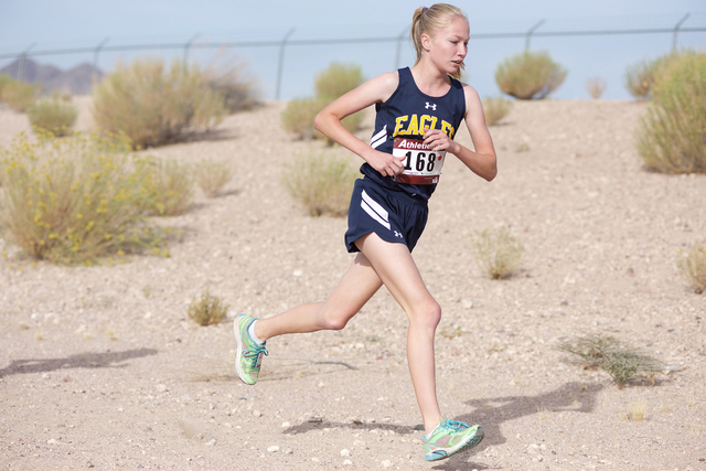 Noel Kanaley/Boulder City Review Boulder City High School junior Camille Torgeson finished 16th with a time of 23:55.5 during Saturday's Lake Mead Invitational at Veterans' Memorial Park in Boulde ...