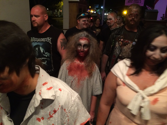 File photo Assorted zombies shuffled down Arizona Street during a past Zombie Walk presented by Boulder Dam Brewing Co. and the Las Vegas Chapter of the Zombie Squad. The sixth annual event begins ...