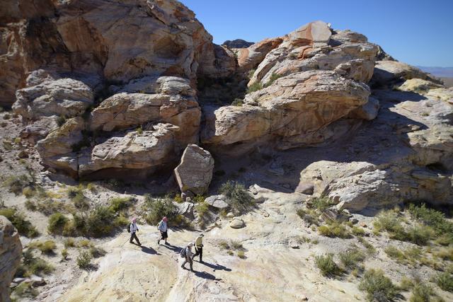 Hikers enjoy the desert around the Falling Man petroglyph area in the Gold Butte region northeast of Las Vegas in October. Sam Morris/Las Vegas News Bureau