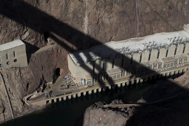 Erik Verduzco/Las Vegas Review-Journal The shadow of the Mike O'Callaghan-Pat Tillman Memorial Bridge can be seen as crews works to inspect for deficiencies Jan. 31.