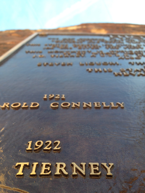 "Henry Brean/Las Vegas Review-Journal The Tierney name appears on the ""High Scaler"" plaque for fallen construction workers at Hoover Dam in this photo from Dec. 13."