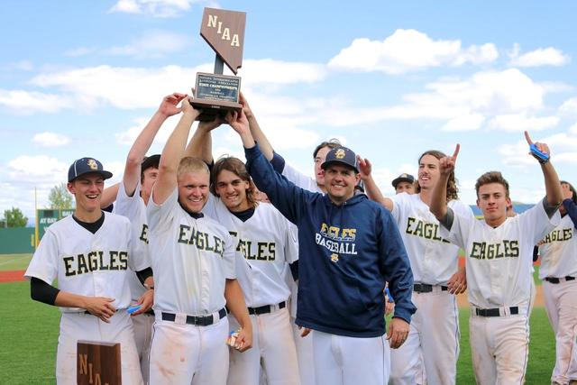 File photo The Boulder City High School's Eagles baseball team celebrates after winning the state championship in May.