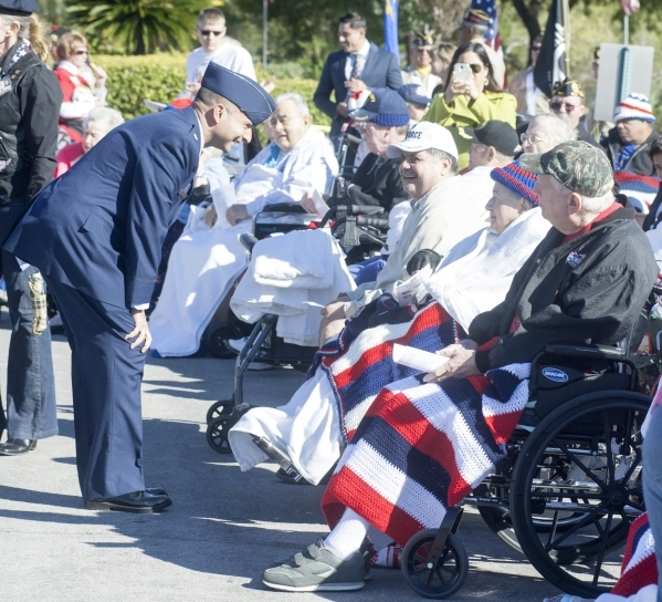 File photo Lt. Col. Cameron Dadgar, U.S. Air Force, took time to greet residents of the Nevada State Veterans Home in Boulder City prior to Veterans Day ceremonies last year. This year's ceremony  ...