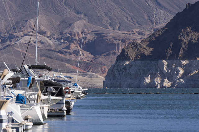 Jason Ogulnik/Las Vegas Review-Journal The shrinking water level at Lake Mead can be seen near the Lake Mead Marina on Nov. 17, 2016. Heavy and early winter snow will likely ease the shortage and  ...