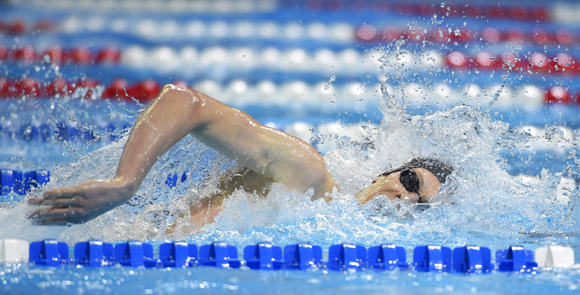 Zane Grothe swims during a preliminary heat in the Men's 400-meter freestyle at the U.S. Olympic swimming trials Sunday in Omaha, Nebraska. (AP Photo/Mark J. Terrill/The Associated Press