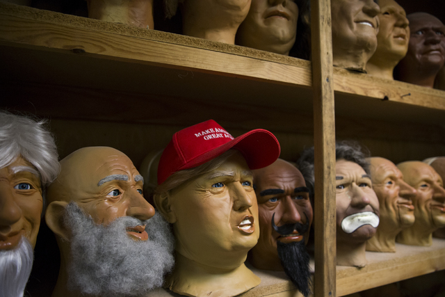 Erik Verduzco/Las Vegas Review-Journal Character heads at various stages , including one bearing the likeness of President Donald Trump, sit at the Characters Unlimited workshop in Boulder City ea ...