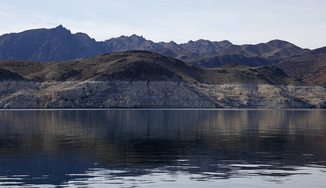 Andrea Cornejo/Las Vegas Review-Journal A high water line, which shows where the water once reached, is seen on rock face in the Lake Mead National Recreation Area, Nevada on Jan. 17. Despite a dr ...