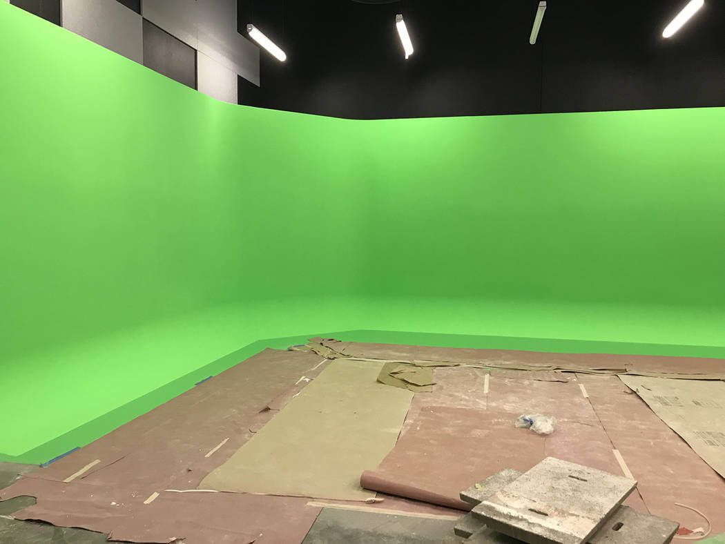 Hali Bernstein Saylor/Boulder City Review The broadcast studio in the new fine arts building at Boulder City High School, as seen on Friday, includes a giant green screen.
